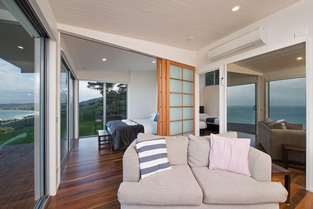 Lounge and bedroom, shoji screen room divider