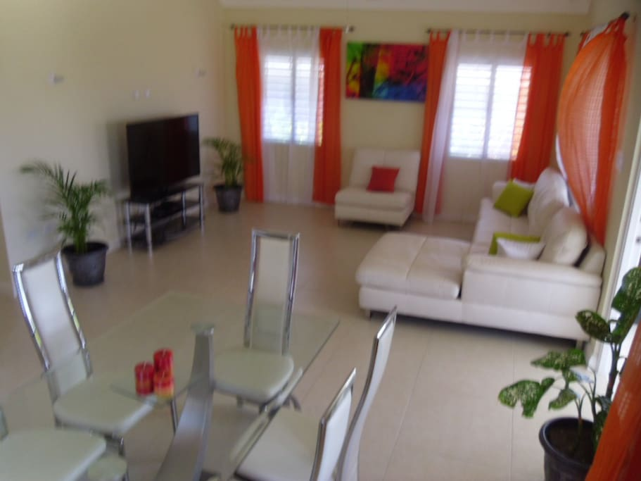 Our Open Planned Living & Dining Room with 48' Internet Enabled Flat Screen TV with Cable and Free Wifi