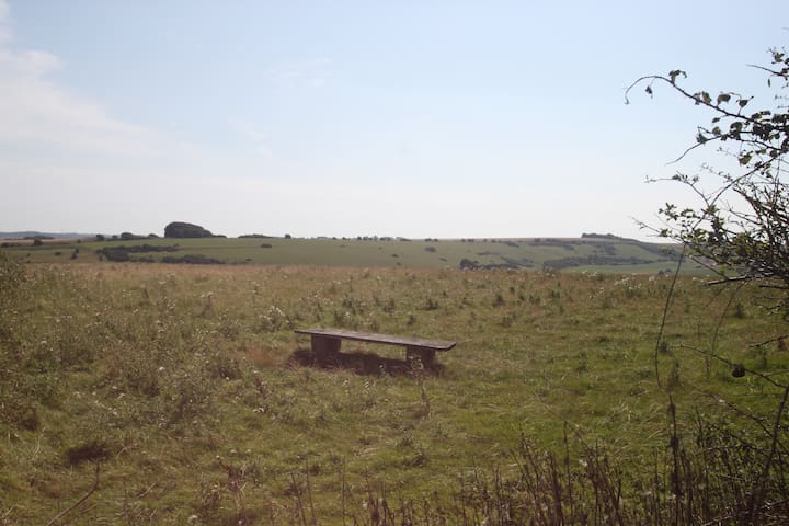 Contemplation bench in the field at the top of the lane
