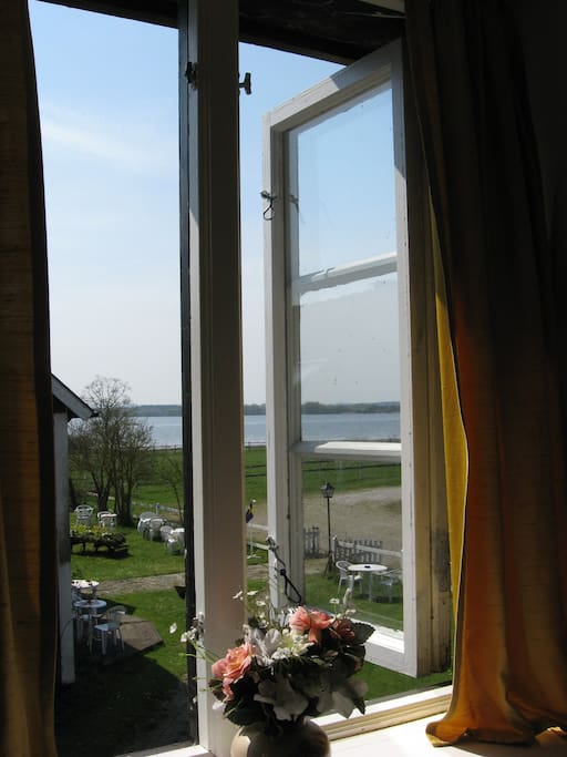 The view of Vombsjön from the bed room.