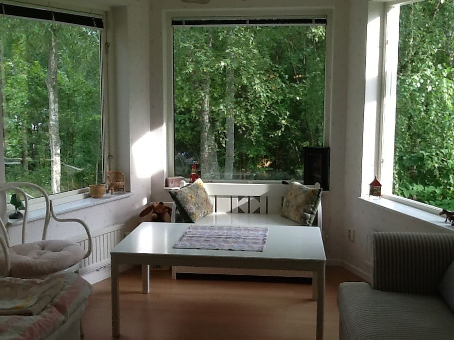 Panoramic window in one of the bedrooms.