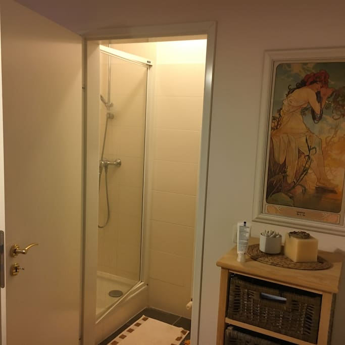 Private shower room with sink. It's all yours!