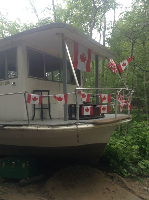 Sit on the front deck in an easy chair. Shades of Canada Day past July 1 /16!