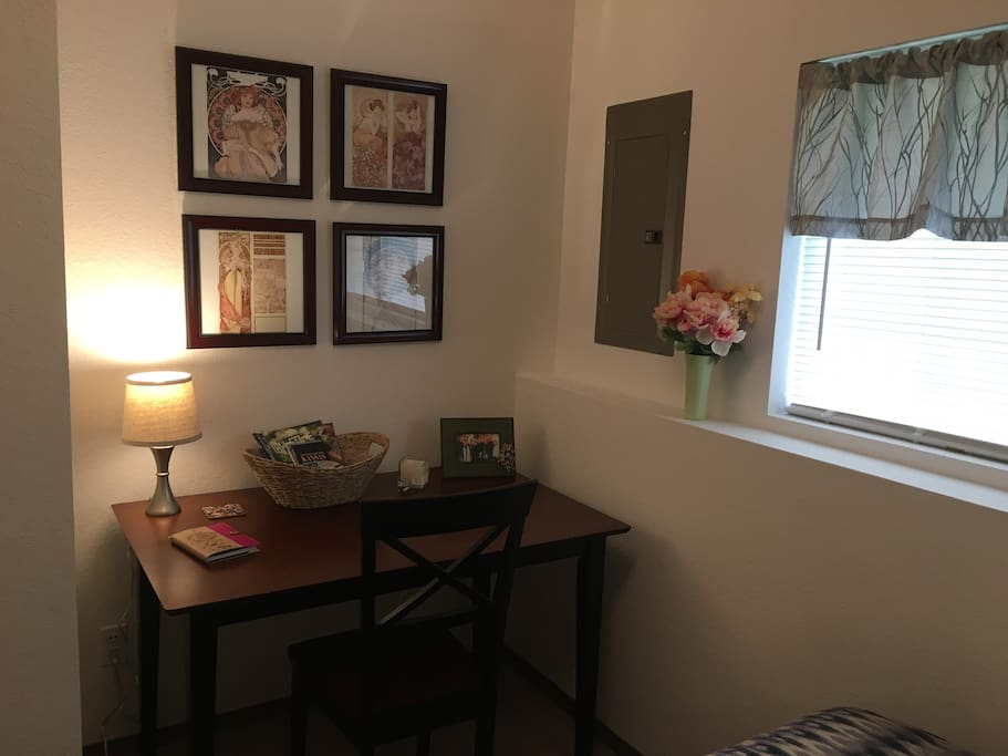 Desk/table in the guest room with Mucha art prints