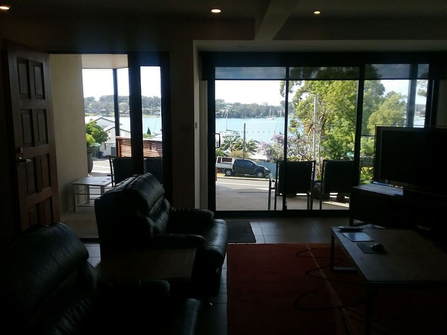View from lounge onto entrance balcony with lake view