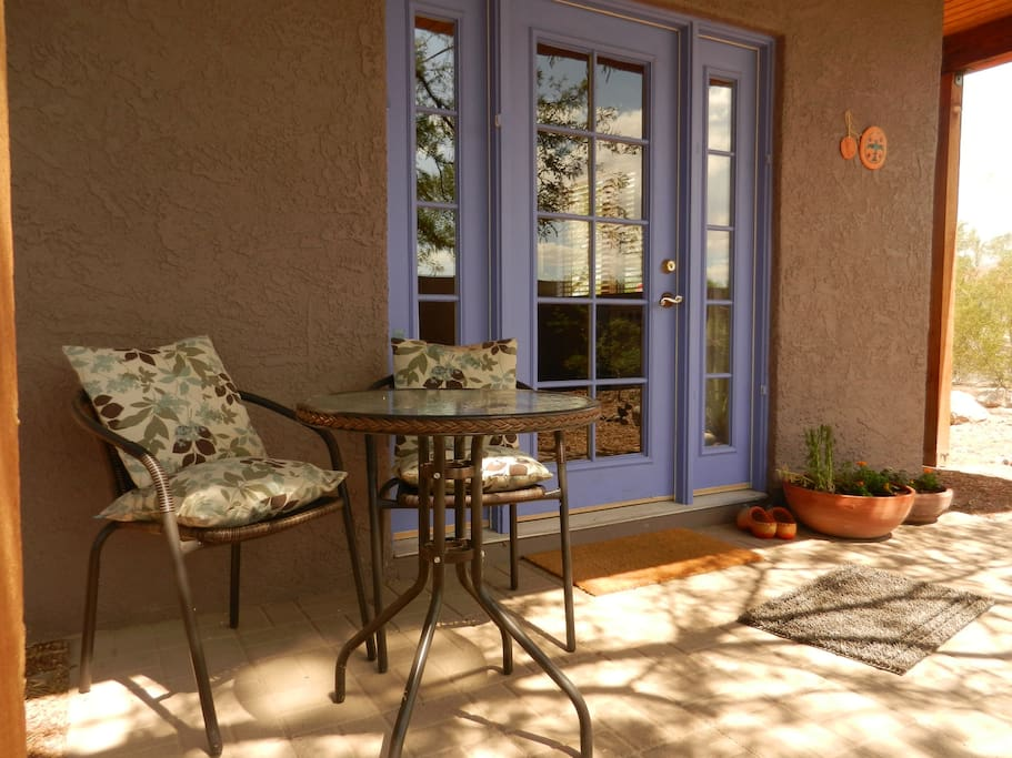 Welcome! Private patio area with bistro table and chairs.