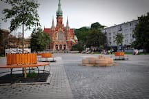 Rynek Podgorski, Kosciol sw. Jozefa.  Square is located just outside the apartment.