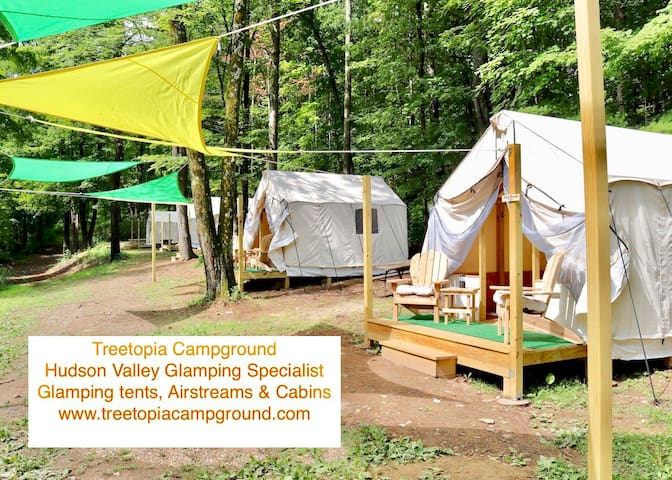 Group of 7 Private Section Glamping Tents Retreat
