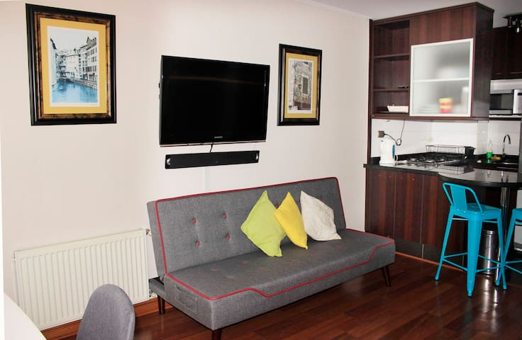 Vista sala tv futon