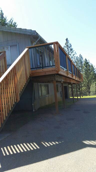 Decking from front to back of cabin