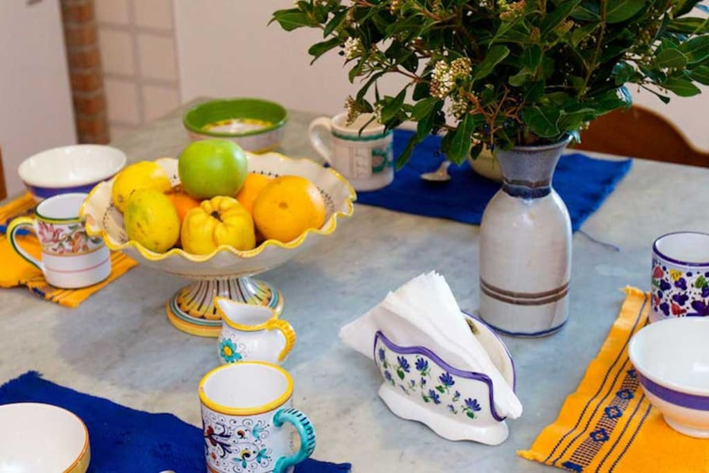 My love for local ceramics makes your table colourful and elegant. The kitchen is fully equipped for our guests.