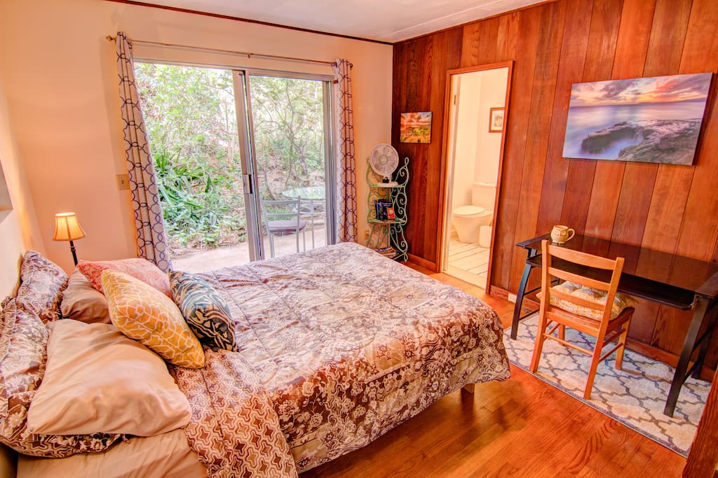 A comfy room that looks out on a green hillside. Private bathroom and queen size bed!