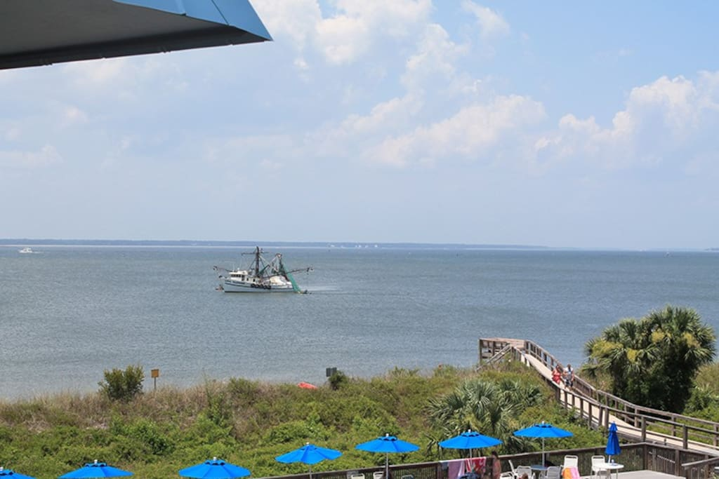 Watch Shrimp Boats and Cargo Ships, Tybee Sunrises and Dolphins in the Surf from your Private Balcony