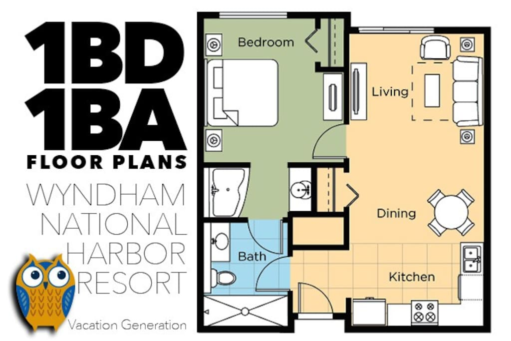 Wyndham National Harbor Rental Condo Floor Plans and Layout sample.