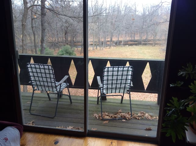 This is the deck just off the living room.  It overlooks the back field and stream.  This photo was taken in November.