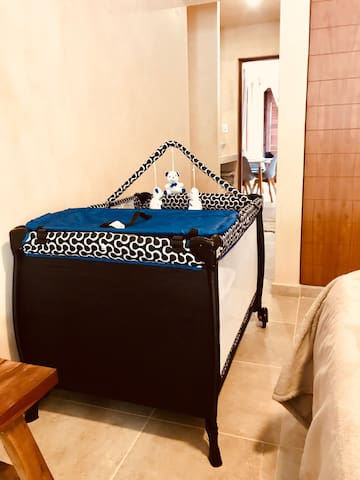 Travel baby bed. When families are travelling with small children we can also provide the travel crib, covers, baby bath and beach toys.