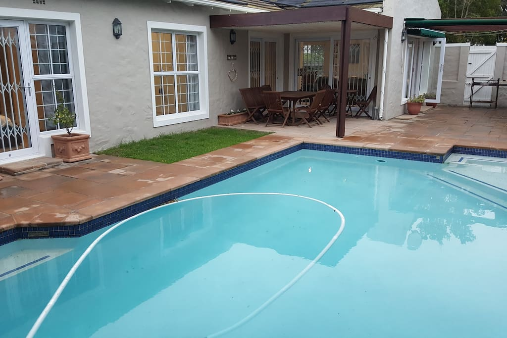 View across the pool towards the house.
