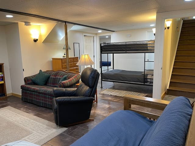 Family room in basement with a set of twin bunk beds, futon and Roku TV