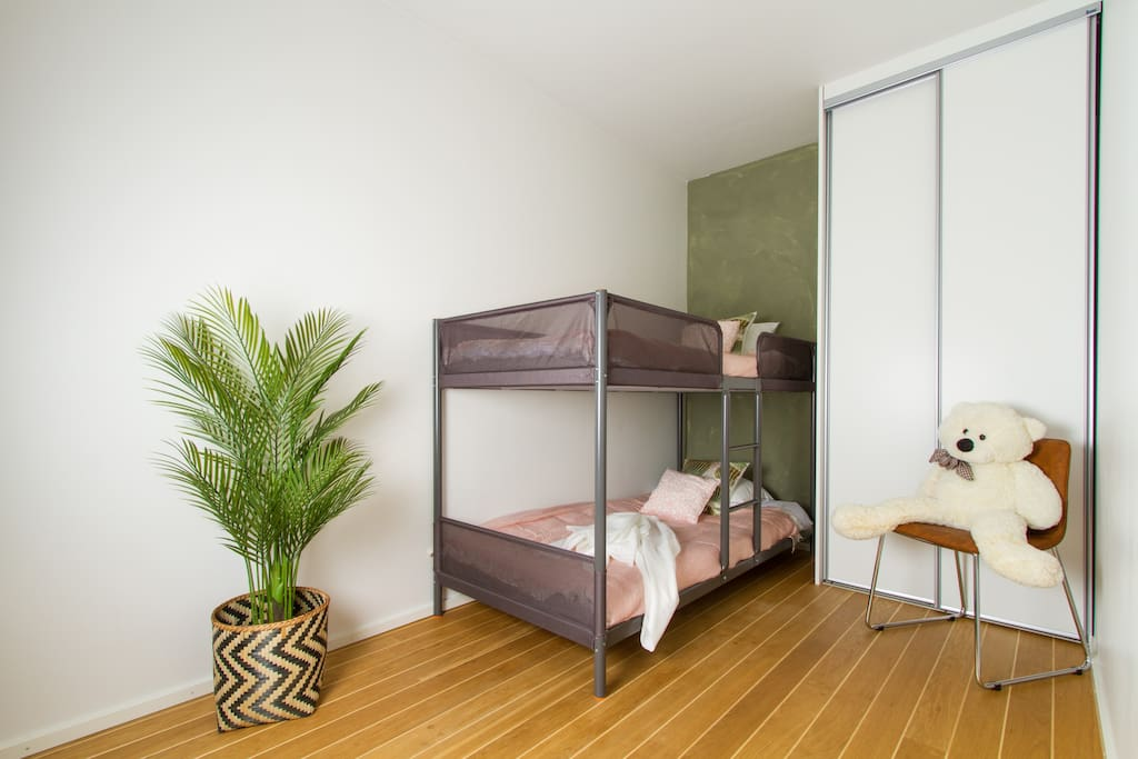 Bedroom with bunkbeds for the kids, or you're smallest person in group;)