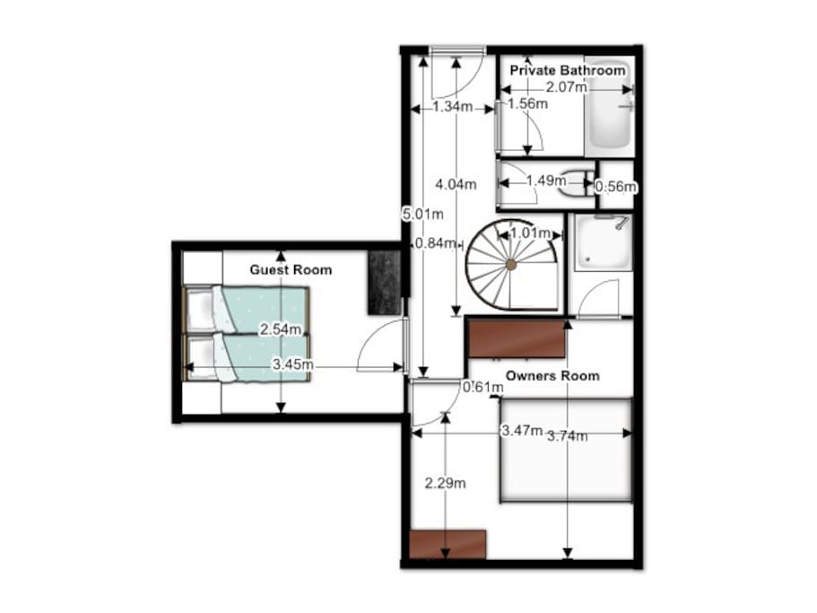 Floor plan of downstairs with guest bedroom and private bathroom