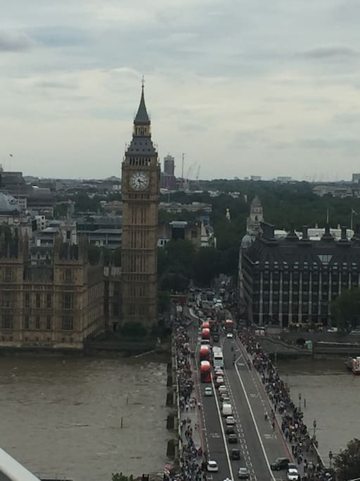 Big Ben and Westminster Bridge as seen from the balcony