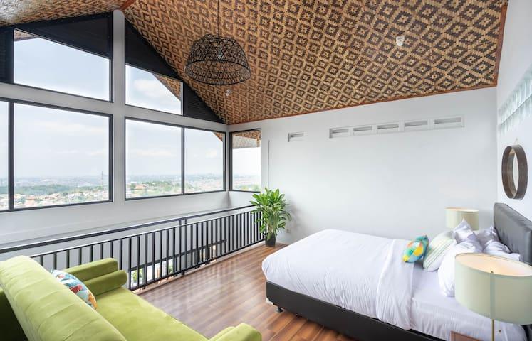 Master bed looking over Bandung city