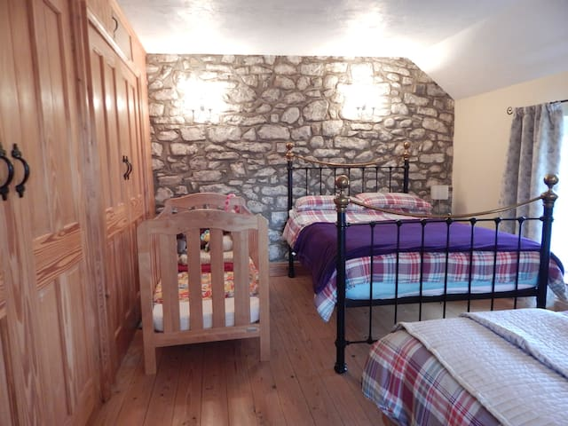Family room 1 double, 2 single beds & cot