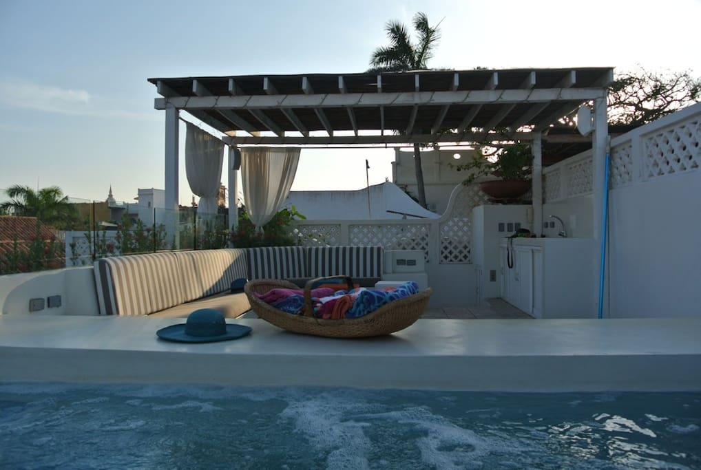Rooftop terrace with pool and speaker system