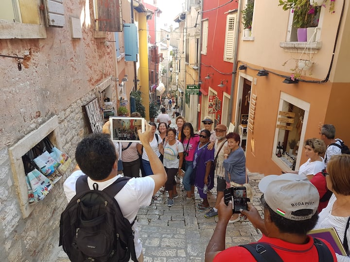 Along the old cobbled streets of Rovinj.