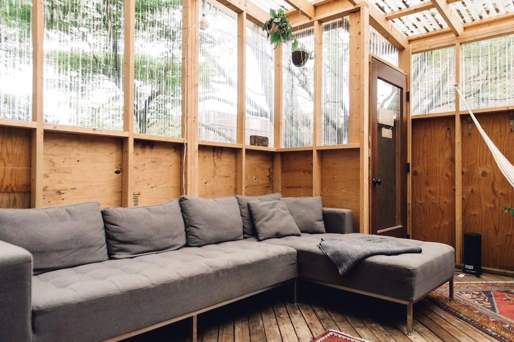 Full shot of the sofa in the Garden Loft