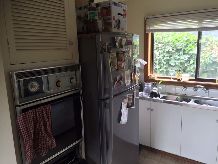 Compact Kitchen, with large fridge and freezer, coffee machine, food processor etc