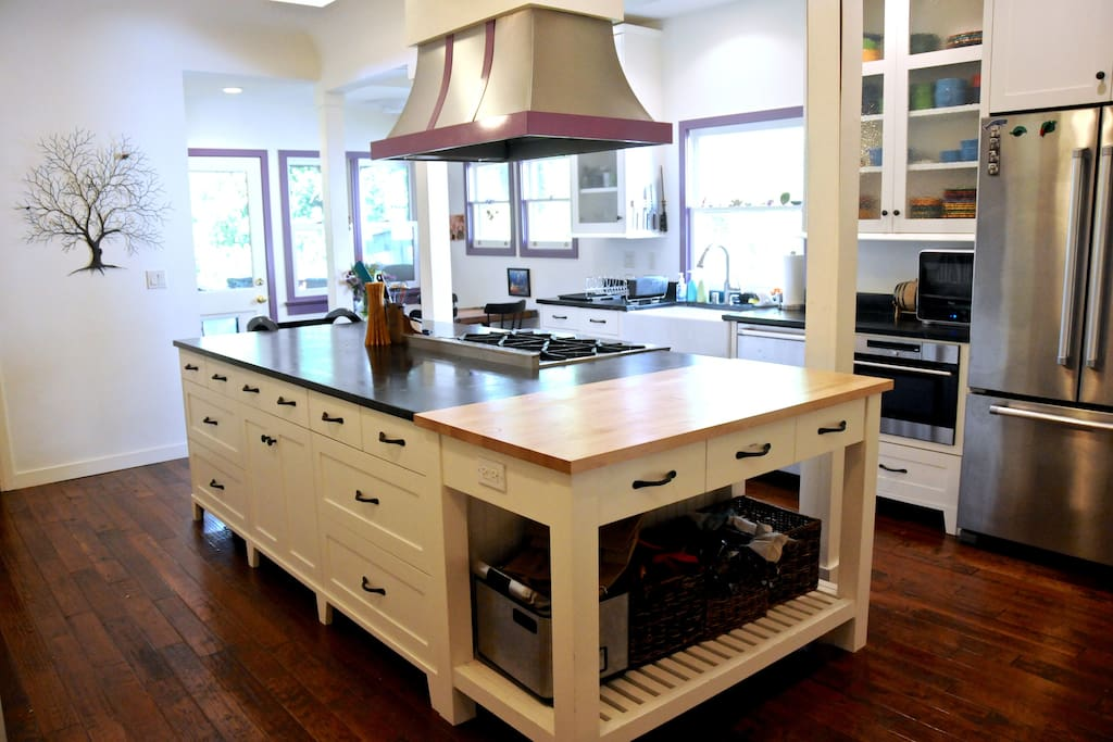 Full custom chef's kitchen with almost every tool or amenity you could want.