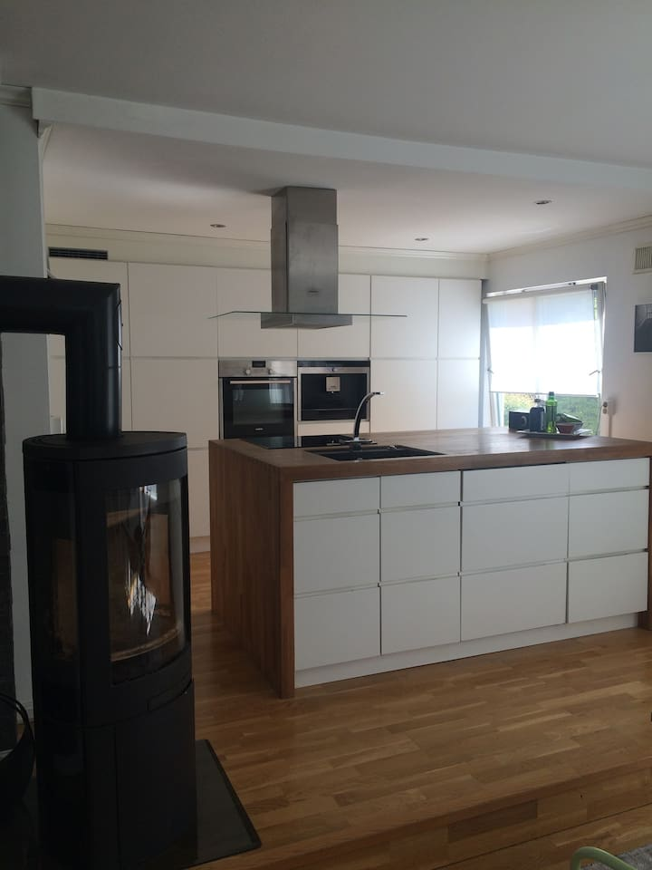 Modern kitchen with state of the art appliances. The apartment as a whole was redecorated in 2010. The apartment is approximately 100 square meters.