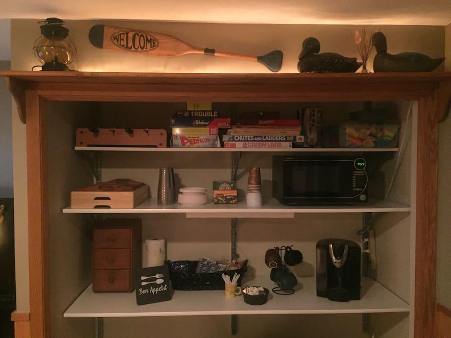 Microwave, coffee maker, fridge