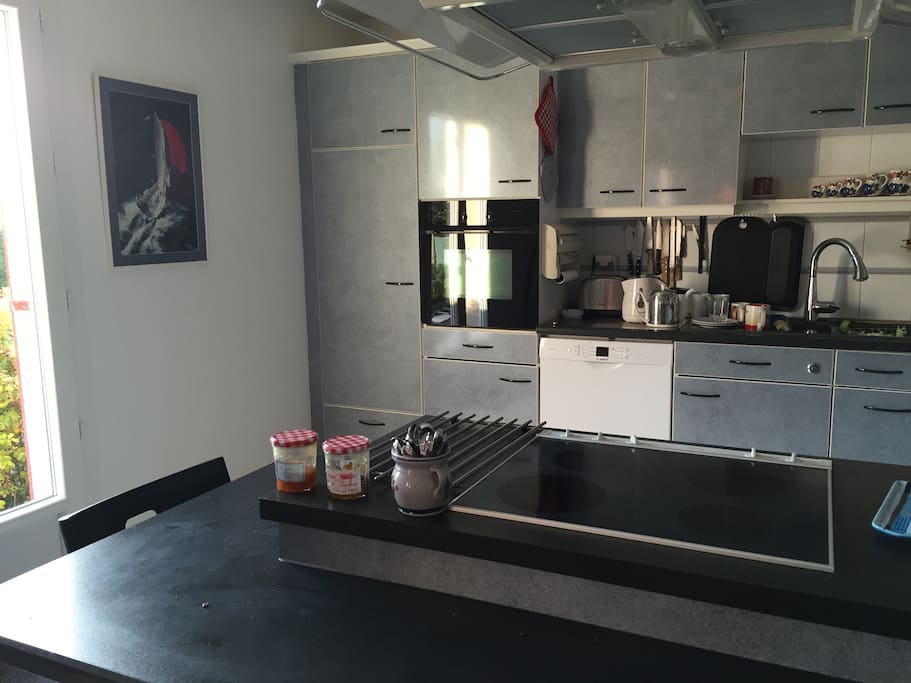 Modern and sunny kitchen for morning breakfast