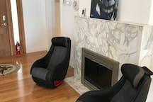 2 Brookstone Shiatsu Electric Massage Chairs & Fireplace With Guards