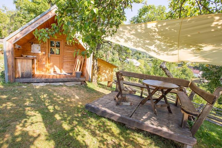 Small Family hut glamping organic farm
