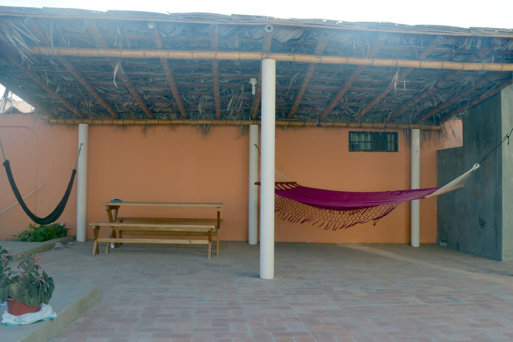 Relax with hammocks. Wifi available throughout property.