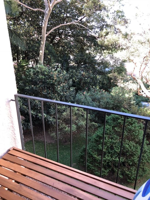 Balcony overlooks communal garden with lots of native birds