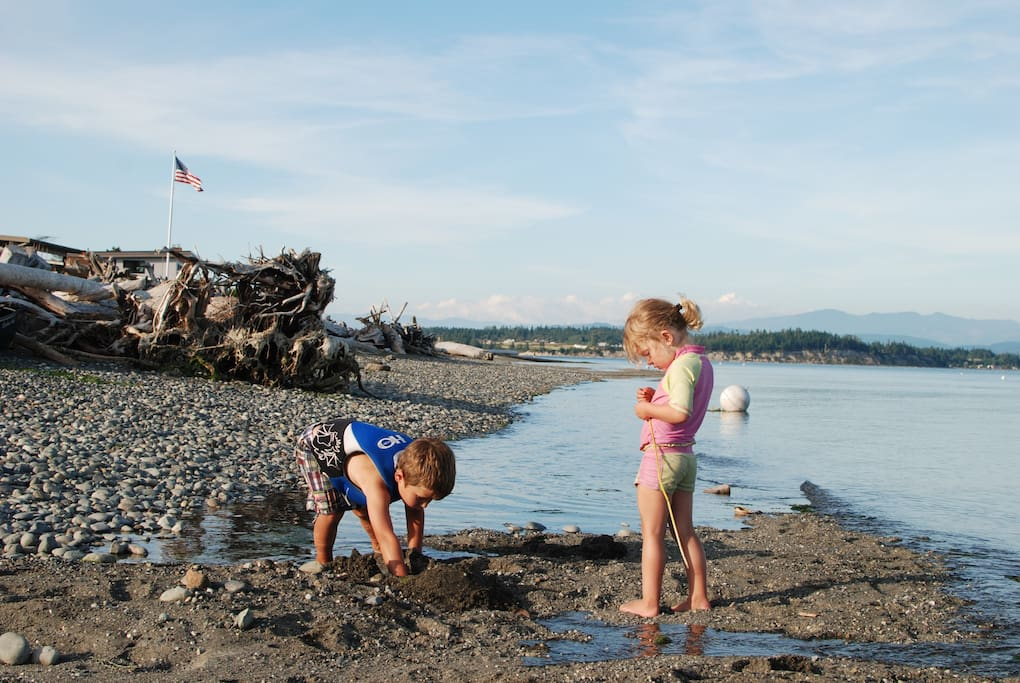 beachcombing, fort building, and warm shallow water for the kids.