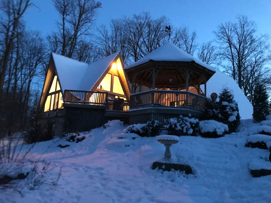Winters at Twin Peaks offer cozy views of the property reminiscent of a chalet.