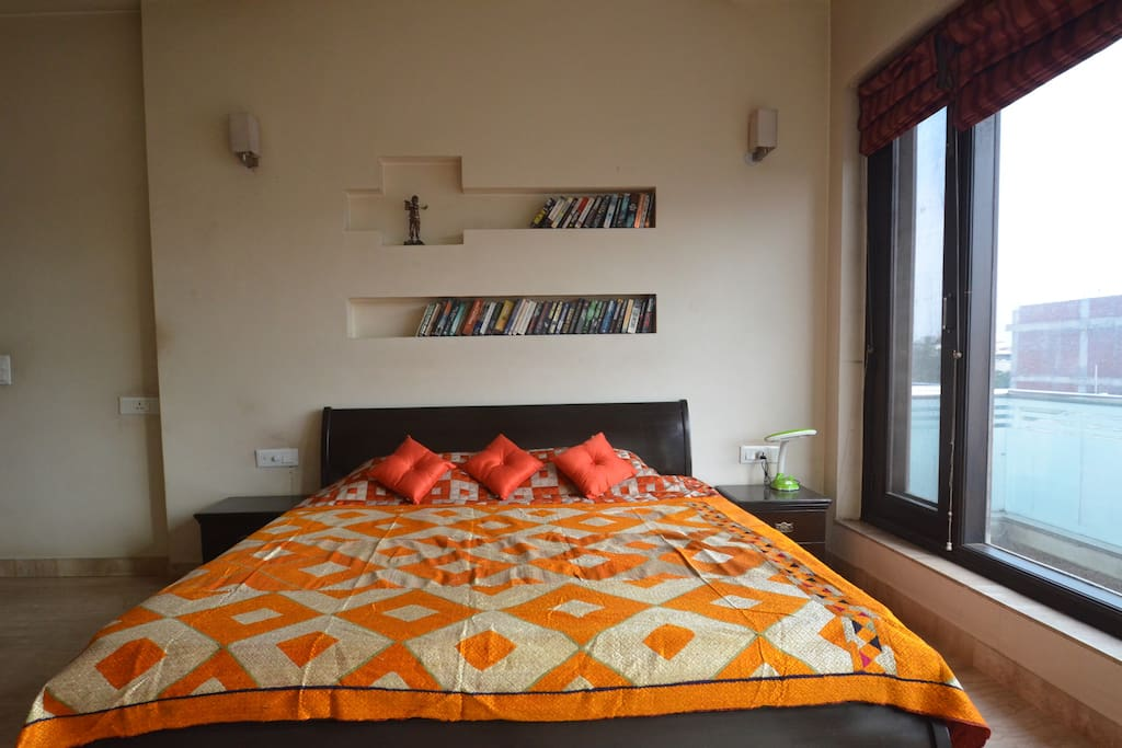 Double Bed, with side tables, reading light.