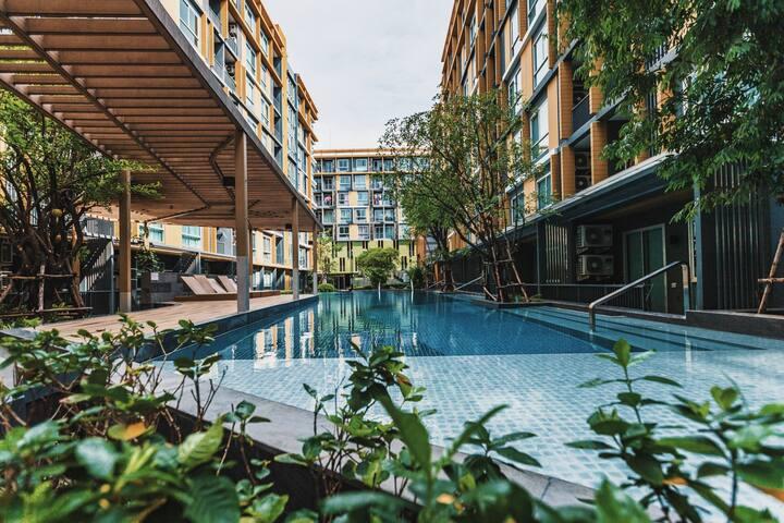 曼谷大学旁舒适2室度假公寓#方便打卡曼谷热门景点与购物地点/楼下7/11