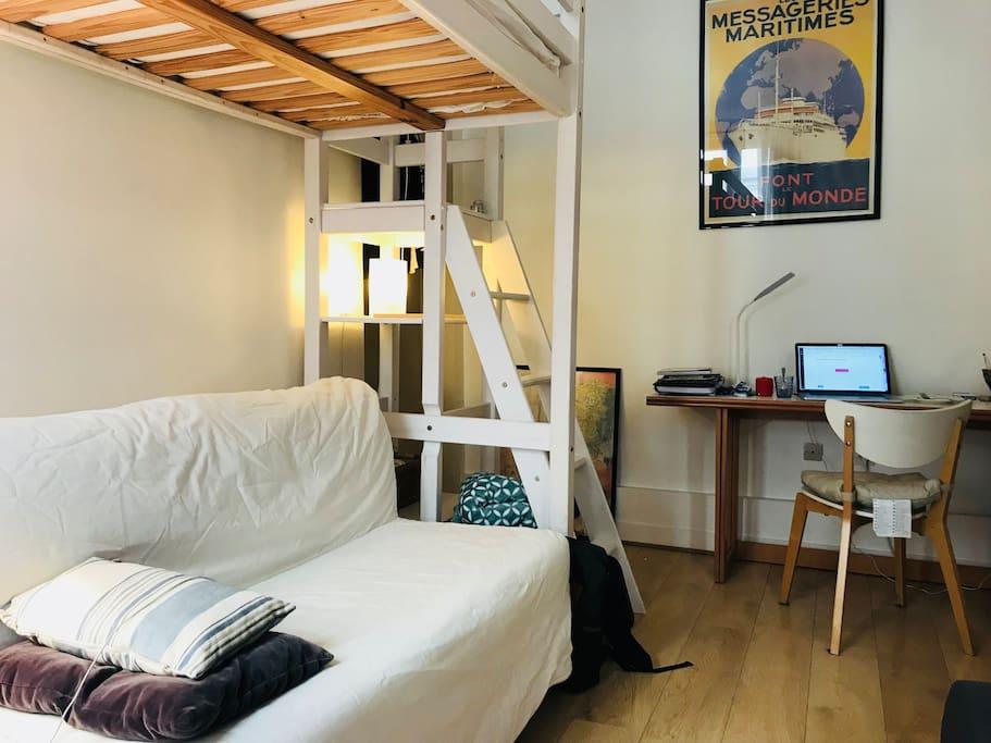 Sofa bed and mezzanine