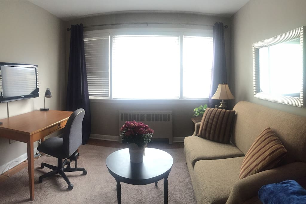 Another view of the living area. TV available to use if you hook up your laptop/tablet/etc. No cable.