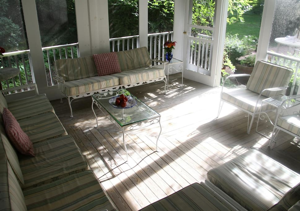 Wrap-around porch leads to breakfast patio.