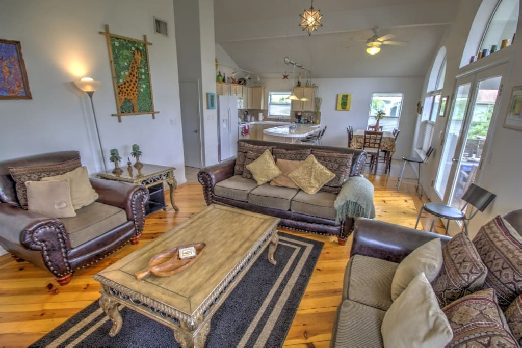 The Living Room is open to the Kitchen & Seating.