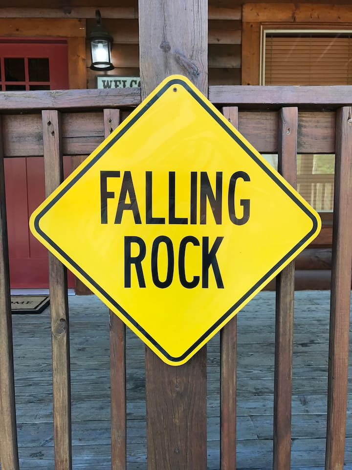 """Falling Rock is named because of a story my father told us as kids when we traveled trough the Great Smoky Mountians National Park. He said a young Indian child named Falling Rock was missing and asked us to """"Watch for Falling Rock""""."""