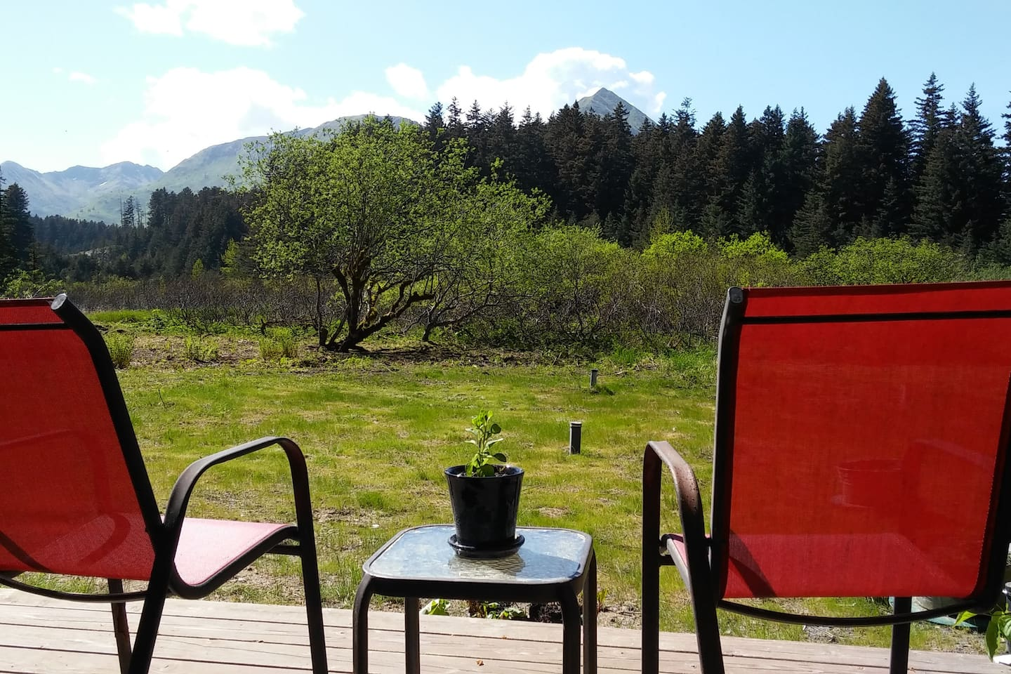 Enjoy the view of Three Sisters ridgeline from your sunny deck.