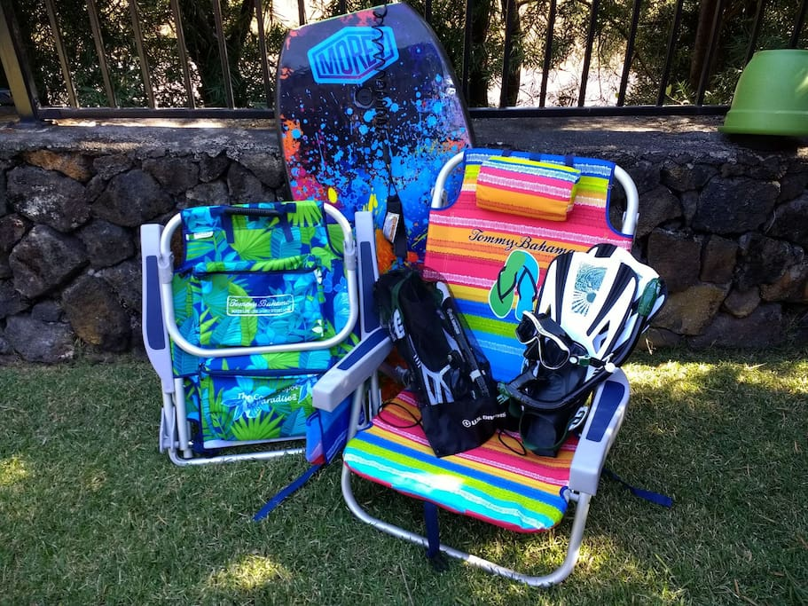 Grab a couple of chairs, some snorkel gear, a boogie board and head to the beach!